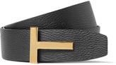 Tom Ford 4cm Black and Brown Reversible Grained-Leather Belt