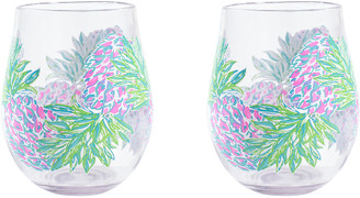 Lilly Pulitzer Acrylic Wine Glasses, Set of 2