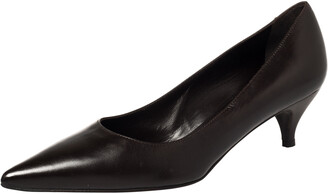 Fendi Dark Brown Leather Kitten Heel Pointed Toe Pumps Size 38