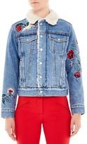 Sandro Blondie Embroidered Denim Jacket