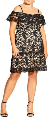 City Chic Dream of Lace Cold Shoulder Dress