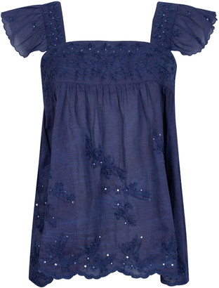 Juliet Dunn Embroidered Washed Cotton Top