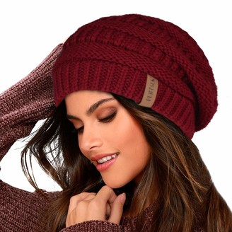 FURTALK Knit Beanie Hat for Ladies Fleece Line Ski Skull Cap Slouchy Winter Hats for Women Beige