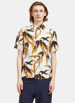Marni Men's Swash Botanic Print Crumpled Shirt In White