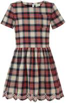 Yumi Girls Embroidered Check Dress