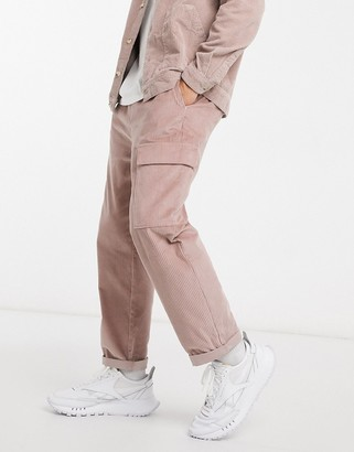 ASOS DESIGN relaxed skater fit cargo trousers in cord