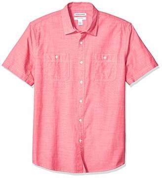 Amazon Essentials Men's Standard Regular-Fit Short-Sleeve Chambray Shirt