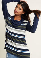 ModCloth Striped Cowl Neck Tunic in Navy in L