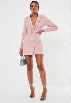 Missguided Pink Belted Blazer Dress