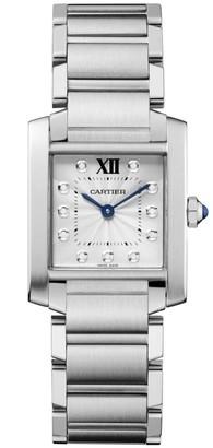 Cartier Tank Francaise Medium Stainless Steel & Diamond Bracelet Watch