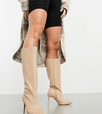ASOS DESIGN Wide Fit Claudia knee high boots in beige