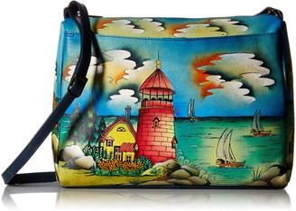 Anna by Anuschka Genuine Leather East West Crossbody Bag | Hand-Painted Original Artwork | Lighthouse