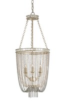 The Well Appointed House Silver Leaf, Pearls and Antique Mirror Chain Chandelier - ON BACKORDER - CALL FOR AVAILABILITY