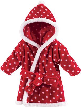 Hudson Baby Girls' Bath Robes Red - Red Polka Dot Soft Plush Hooded Bathrobe - Newborn