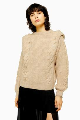 Topshop Womens Idol Bold Shoulder Cable Knit Jumper - Oatmeal