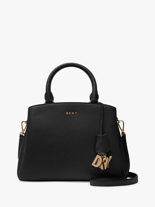 DKNY Paige Medium Leather Satchel Bag, Black
