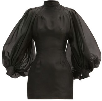 Elzinga - Balloon-sleeve Silk-organza Mini Dress - Womens - Black