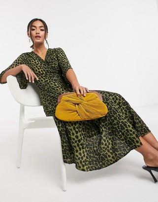 Liquorish kimono sleeve midi dress in leopard