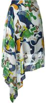 MSGM abstract print draped skirt