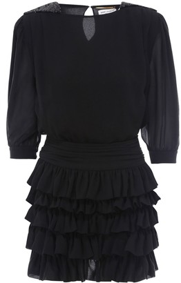 Saint Laurent Ruffle Tiered Mini Dress