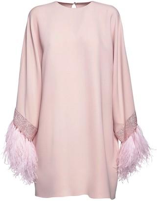 Valentino Silk Couture Dress W/ Embellished Cuffs