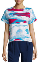 Zac Posen Ida Short-Sleeve Abstract-Print Top, Raspberry/Cyprus