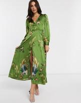 Liquorish maxi wrap dress in green bird print