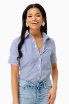 The Shirt By Rochelle Behrens Blue Striped Short Sleeve Icon Shirt