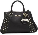 Betsey Johnson Hearts Fire Studded Satchel Bag, Black