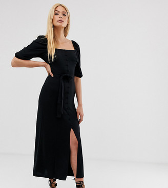 Asos Tall DESIGN Tall midi button through square neck dress with belt-Black