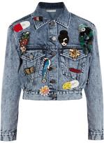 Alice + Olivia Chloe Appliquéd Denim Jacket - Blue