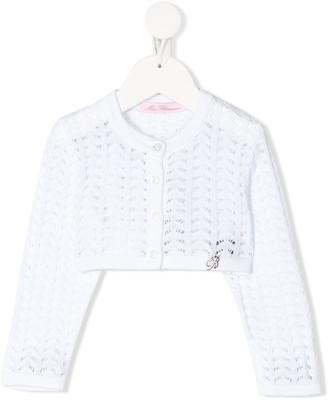 Miss Blumarine Pointelle-Knit Cardigan