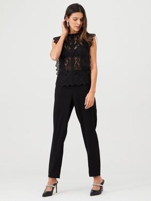 Very Sleeveless Lace Frill Sleeve Top - Black