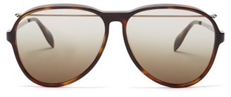 Alexander McQueen Top-bar Aviator Acetate Sunglasses - Mens - Tortoiseshell