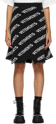 Vetements Black Knit Logo Sweatshirt Skirt