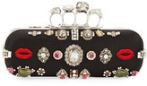 Alexander McQueen Antique Ring Knuckle Box Clutch Bag, Black/Multi
