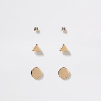 River Island Gold colour stud earring 3 pack