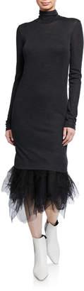Brunello Cucinelli Long-Sleeve Sweaterdress with Tulle Hem