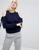 Asos Jumper With Tie Cold Shoulder In Cashmere Mix