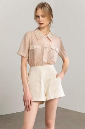 J.ING Tan Pearl Sheer Shirt