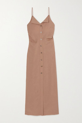 Nanushka Paz Open-back Woven Midi Dress - Light brown