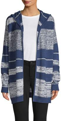 NYDJ Striped Hooded Cotton Cardigan