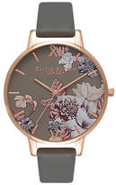 Olivia Burton OB16CS08 Women's Marble Florals Leather Strap Watch, Grey/Multi