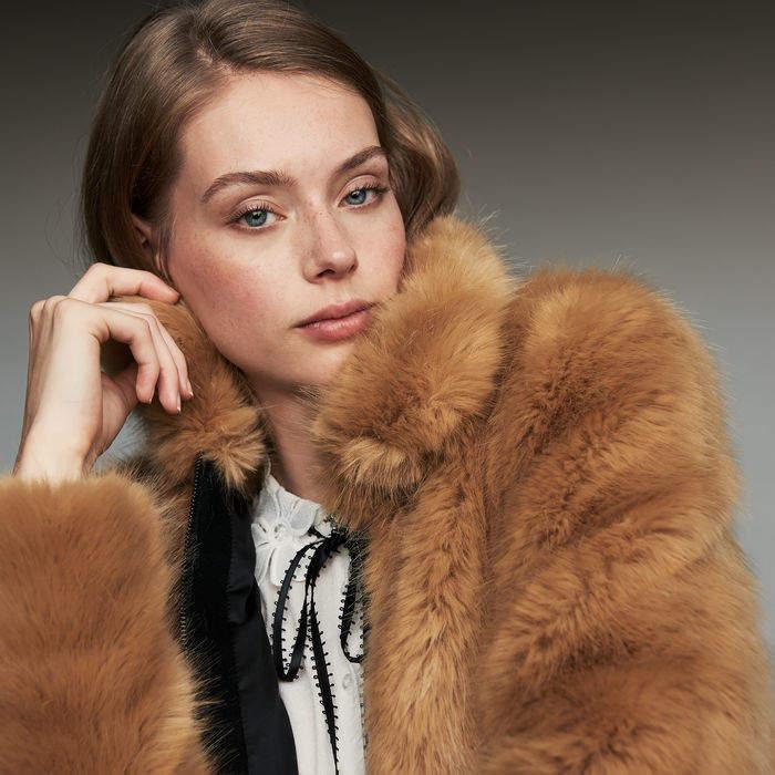 Maje Cropped faux fur jacket