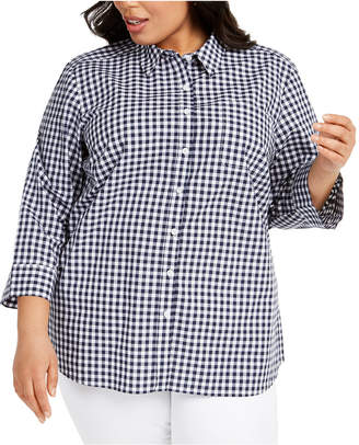 Karen Scott Plus Size Cotton Gingham Shirt