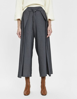 Ash Farrow Women's Marley Tie Fold Pant in Ash, Size Large