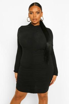 boohoo Plus Soft Rib High Neck Ruched Bodycon Dress