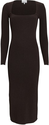 Ganni Rib Knit Midi Dress