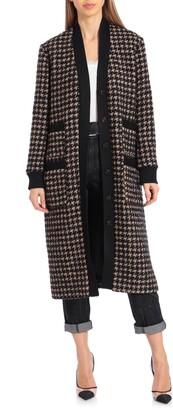 AVEC LES FILLES Houndstooth Long Cardigan Coat