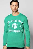 Boohoo Gangsta Wrapper Christmas Jumper